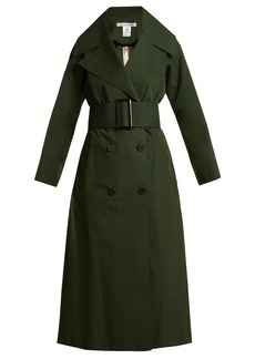 Oscar De La Renta Over-sized notch lapel cotton-blend trench coat