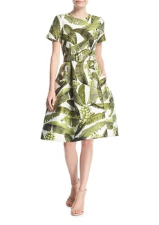 Oscar de la Renta Palm-Print Short-Sleeve Dress