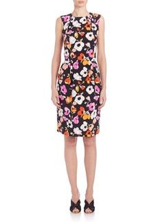 Oscar de la Renta Pansy Print Silk Dress