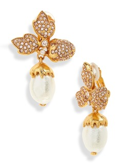 Oscar de la Renta Pavé Acorn Leaf Drop Clip Earrings