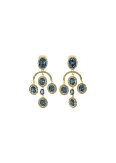 Oscar de la Renta Pavé Crystal Oval Drop Clip-On Earrings