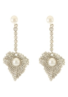 Oscar de la Renta Pavé Grape Leaf Drop Earrings