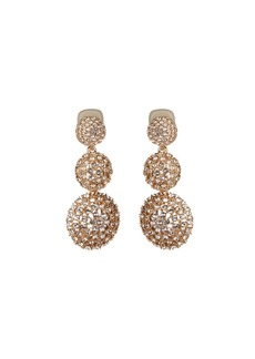 Oscar de la Renta Pave Crystal Three-Drop Clip-On Earrings