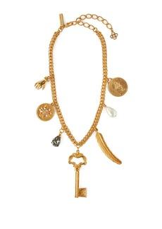 Oscar De La Renta Pearl-embellished gold-tone charm necklace