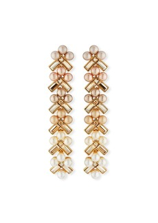 Oscar de la Renta Pearly Baguette Drop Earrings
