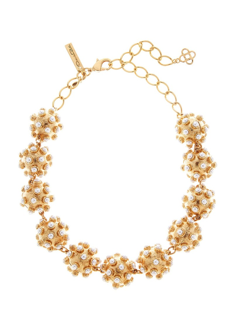 Oscar de la Renta Pearly Cabochon Ball Necklace