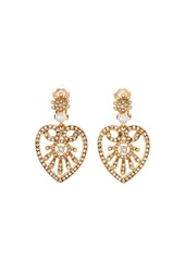 Oscar de la Renta Pearly Crystal Heart-Drop Earrings