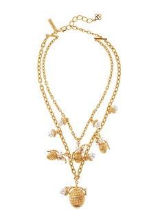 Oscar de la Renta Pearly Pine Cone Necklace