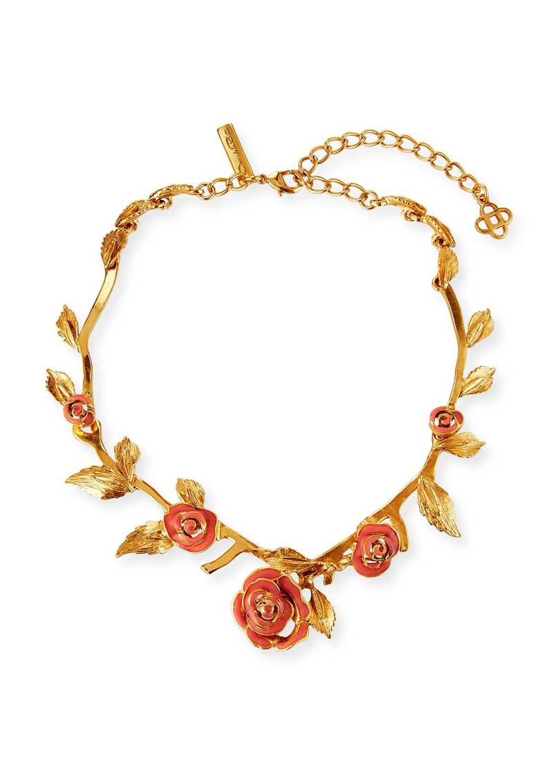 Oscar de la Renta Petite Matte Rose Necklace  Coral
