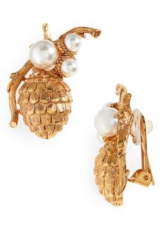 Oscar de la Renta Pinecone Earrings