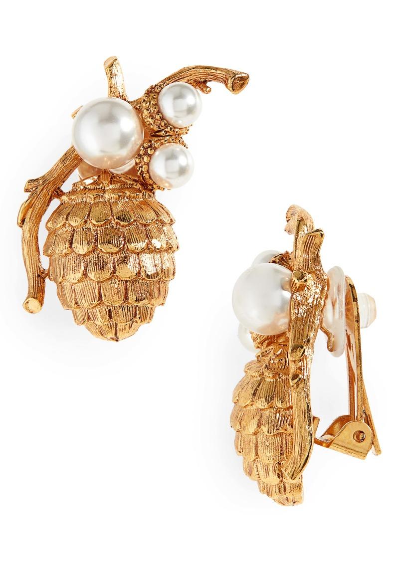 Oscar de la Renta Pinecone Earrings