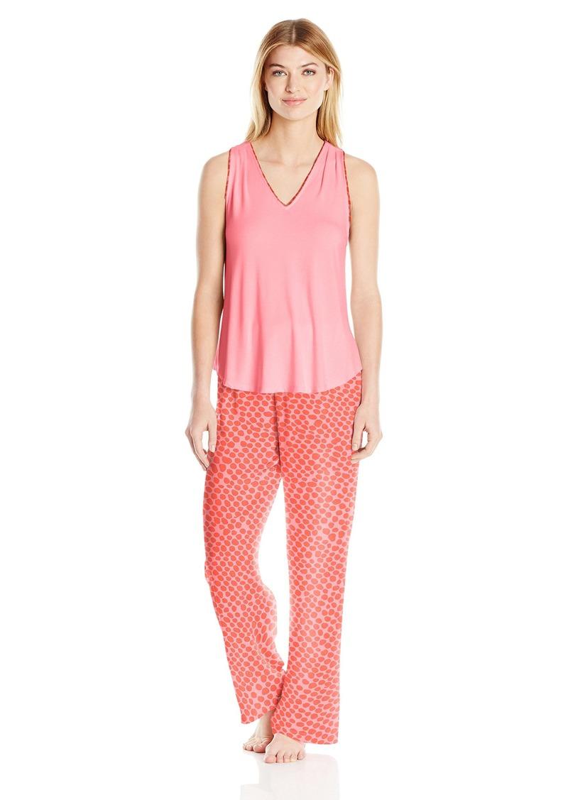 OSCAR DE LA RENTA Pink Label Women's Shadow Print Pajama Set Orange Dot XL