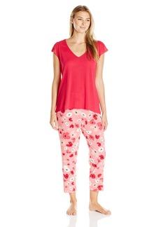 OSCAR DE LA RENTA Pink Label Women's Printed Stretch Crepe Crop Pajama