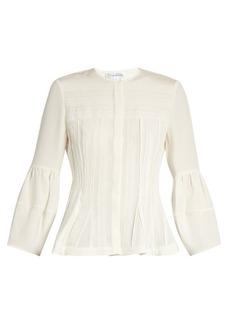 Oscar De La Renta Pintucked lace-trimmed silk-habotai blouse