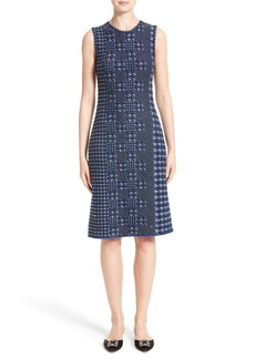 Oscar de la Renta Pixelated Houndstooth Sheath Dress