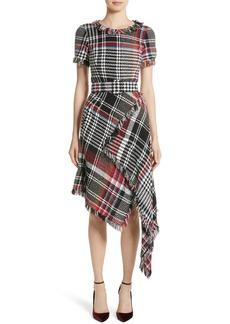 Oscar de la Renta Plaid Asymmetrical Dress