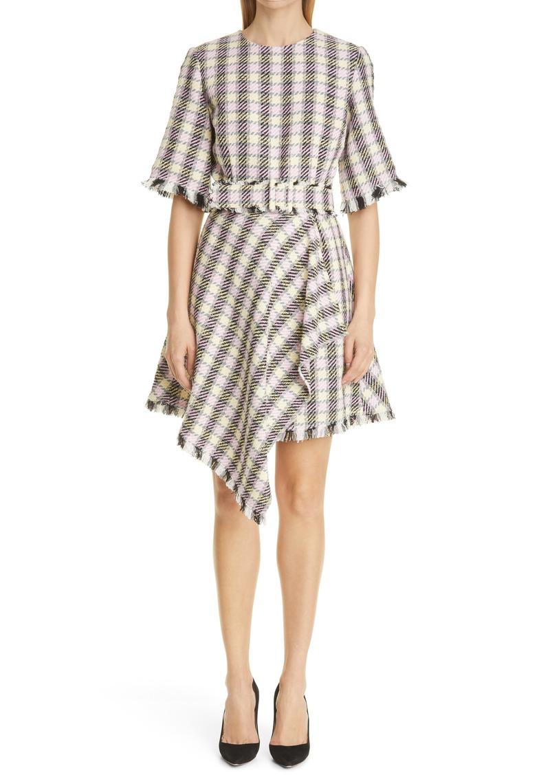 Oscar de la Renta Plaid Frayed Asymmetrical Dress