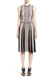 Oscar de la Renta Pleat Jacquard Dress