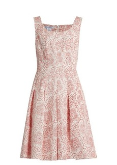 Oscar De La Renta Pleated floral-print cloqué dress