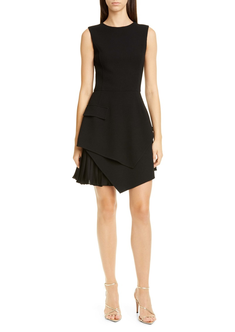 Oscar de la Renta Pleated Hem Stretch Wool Minidress