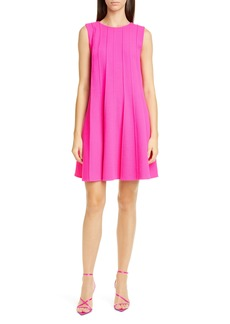 Oscar de la Renta Pleated Stretch Wool Trapeze Minidress