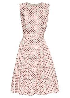 Oscar De La Renta Polka-dot print floral-devoré A-line dress