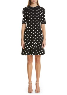 Oscar de la Renta Polka Dot Ruffle Hem Dress