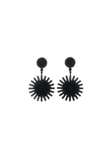 Oscar de la Renta Pompom Flower Beaded Earrings