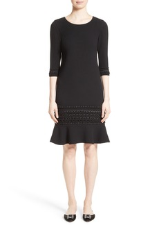 Oscar de la Renta Pompom Trim Double Face Crepe Dress