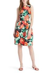 Oscar de la Renta Poppies Print Faille Fit & Flare Dress