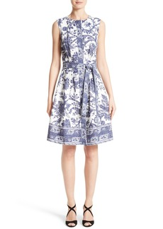 Oscar de la Renta Print Fit & Flare Dress