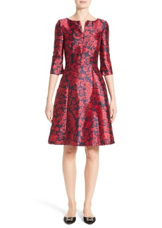 Oscar de la Renta Print Mikado Fit & Flare Dress