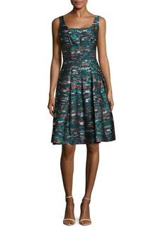Oscar de la Renta Printed Fit-&-Flare Dress