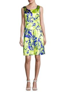 Oscar de la Renta Printed Silk-Blend Dress