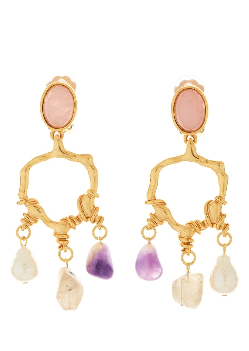 Oscar de la Renta Quartz Nugget Chandelier Earrings