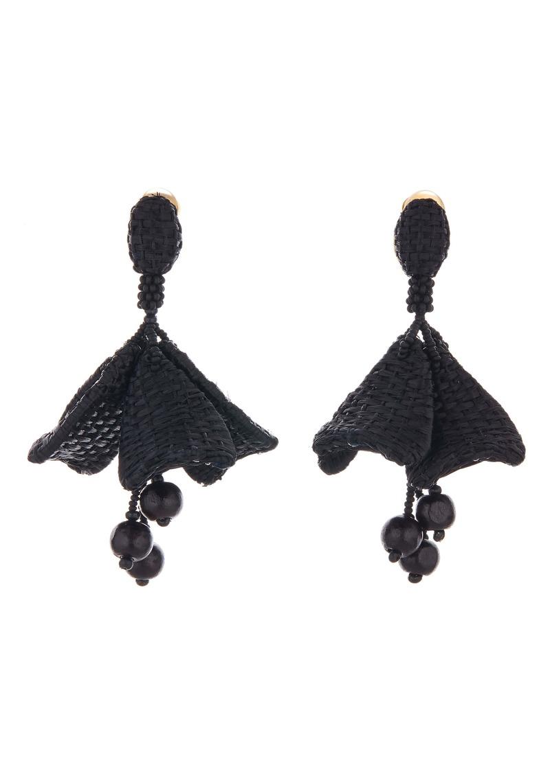 Oscar de la Renta Raffia Impatiens Flower Drop Earrings
