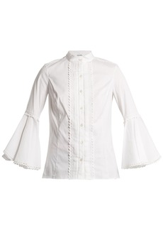 Oscar De La Renta Ric-rac trimmed cotton-blend blouse