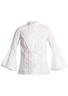 Oscar De La Renta Ric-rac trimmed cotton-blend blouse