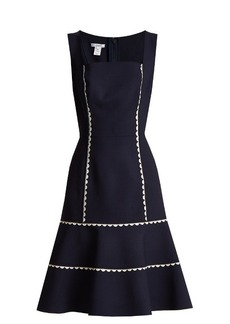 Oscar De La Renta Ric-rac trimmed wool-blend crepe dress