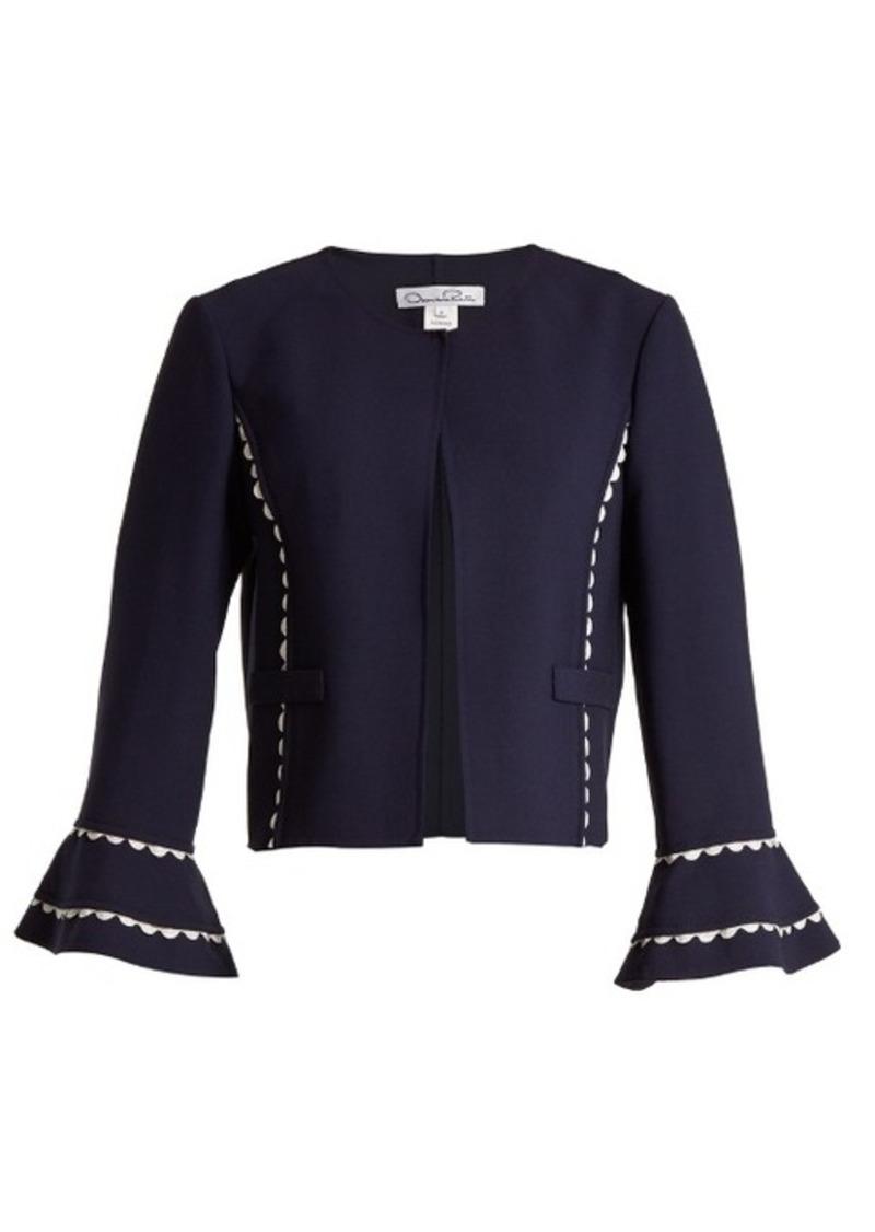 Oscar De La Renta Rickrack-trimmed wool-blend crepe jacket