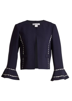Oscar De La Renta Ric-rac trimmed wool-blend crepe jacket