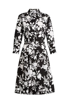Oscar De La Renta Rosebush-print long-sleeved cotton dress