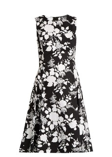 Oscar De La Renta Rosebush-print sleeveless cotton dress