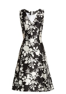 Oscar De La Renta Rosebush-print sleeveless silk-blend dress