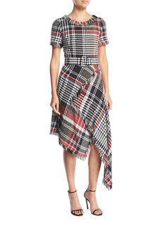 Oscar de la Renta Round-Neck Asymmetric Plaid Tweed Dress