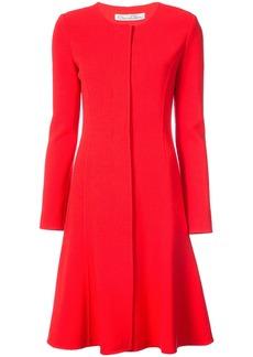 Oscar de la Renta round neck fitted longsleeved dress - Red