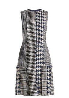 Oscar De La Renta Round-neck hound's-tooth and tweed dress