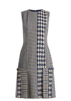 Oscar De La Renta Round-neck hound's-tooth and tweed dress
