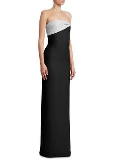 Oscar de la Renta Ruched Silk Gown