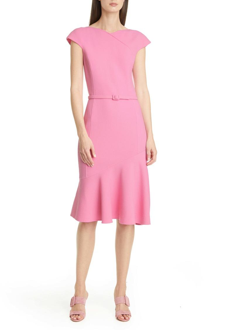 Oscar de la Renta Ruffle Hem Belted Crepe Dress